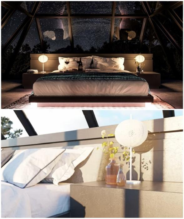 Беспрепятственно любоваться звездным небом и любоваться рассветами, можно не вставая с постели (концепт Nomad's Pad).