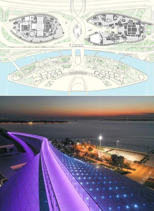 Над Культурным центром предусмотрены пешеходные мосты, позволяющие попасть и на крышу сооружения, и пройти на набережную.