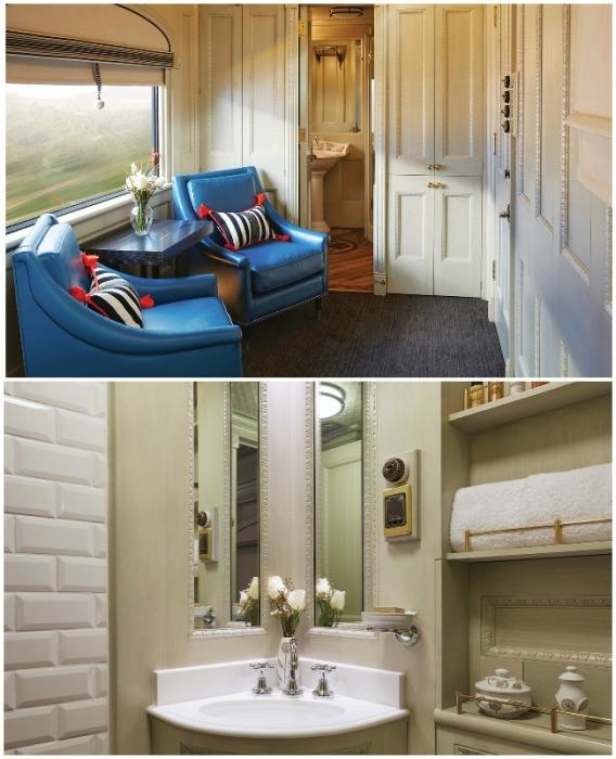 В сьюте предусмотрена индивидуальная гостиная и ванная комната (Belmond Andean Explorer, Перу).