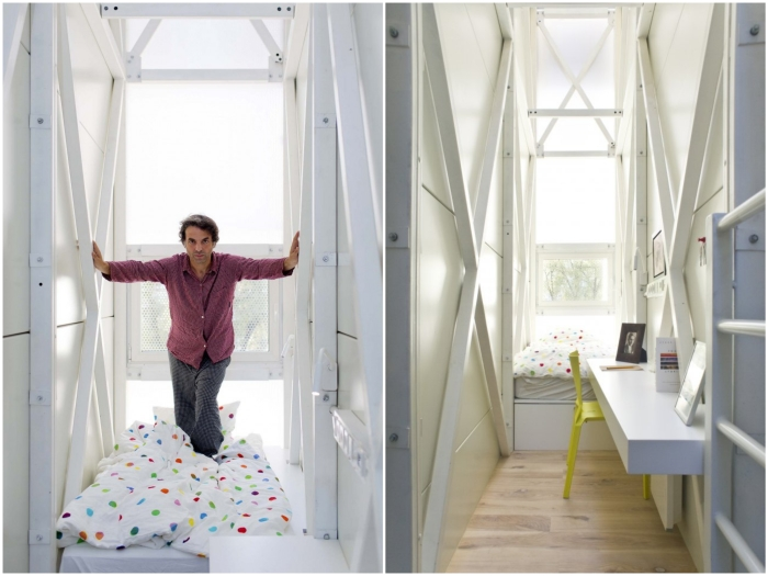На втором уровне размещена спальная зона и рабочий кабинет (Keret House, Варшава).
