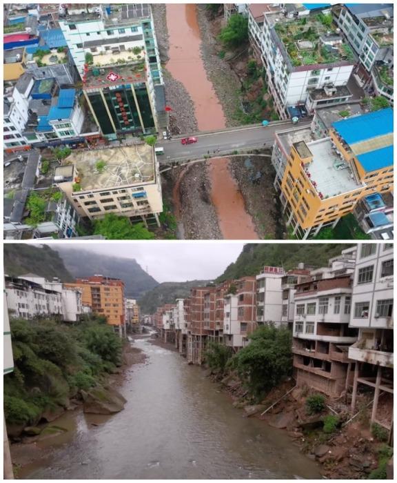 В засуху горная река больше похожа на ручеек, но только до первого дождя (Яньцзинь, Китай).