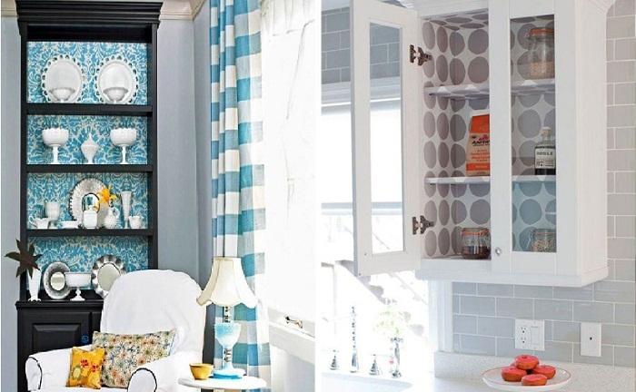 Оформляя открытые полки мебели, можно обновить интерьер.