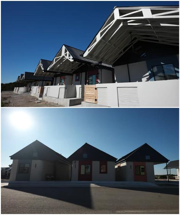 Вот такие очаровательные домики получились благодаря стараниям меценатов (Community First Village, Остин).