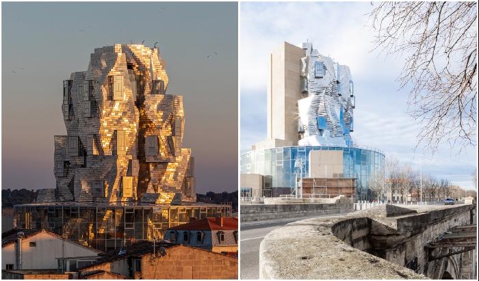 56-метровая башня возвышается над стеклянным амфитеатром, созданным в стиле древнеримских арен (Luma Arles, Франция).