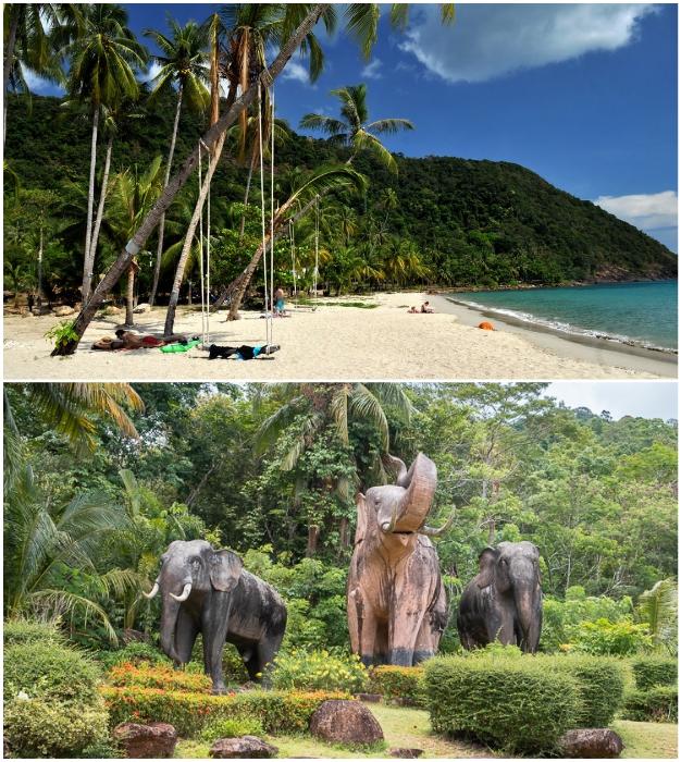 Пляж опустел, а парк и статуи теряют былую привлекательность (Grand Lagoona Koh Chang Resort, Таиланд).