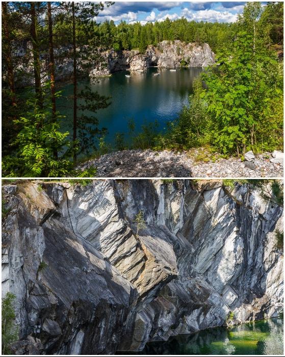 За последние десятилетия вода заполнила заброшенные карьеры, превратив в их в бездонные озера (Рускеала, Карелия).