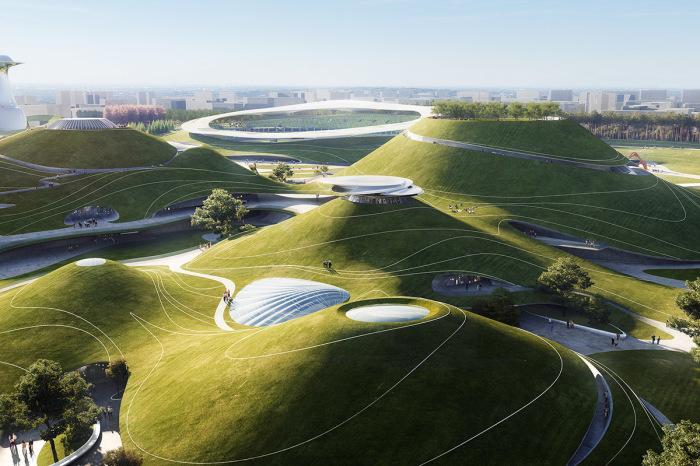 В Китае строится спортивный городок, по «живым» крышам которого смогут гулять посетители (Quzhou Sports Parkк, Quzhou). | Фото: worldarchitecture.org/ © MAD Architects.