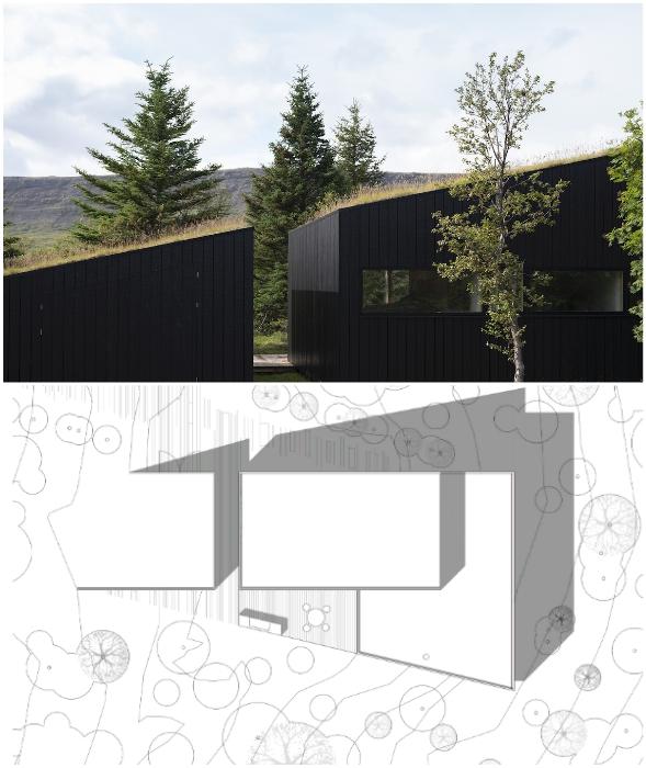 Загородный дом создан из трех структур, повторяющих очертания склона холма (Thingvallavatn House, Исландия).