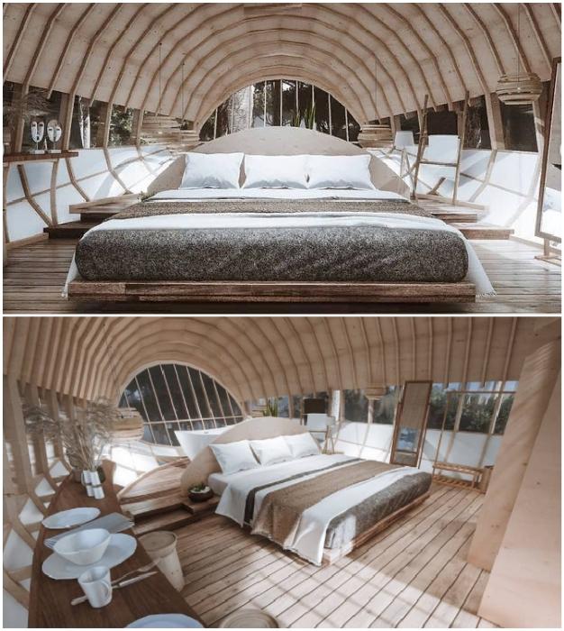 Общее жилое пространство номеров-коконов Cabins On The Mountain (концепт от Veliz Arquitecto).