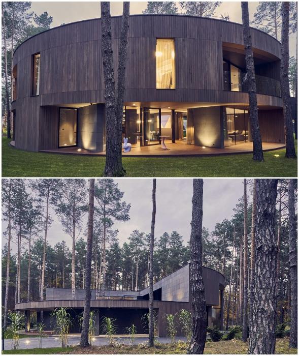 За массивной парадной частью фасада спрятаны открытые зоны (Circle Wood, Польша).
