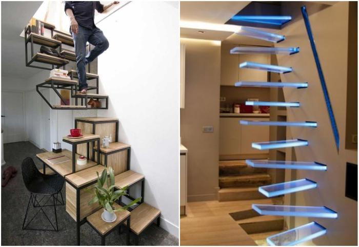 Как бы жутко не выглядела лестница с переменным шагом, она отлично справляется со своей задачей на гораздо меньшей площади.