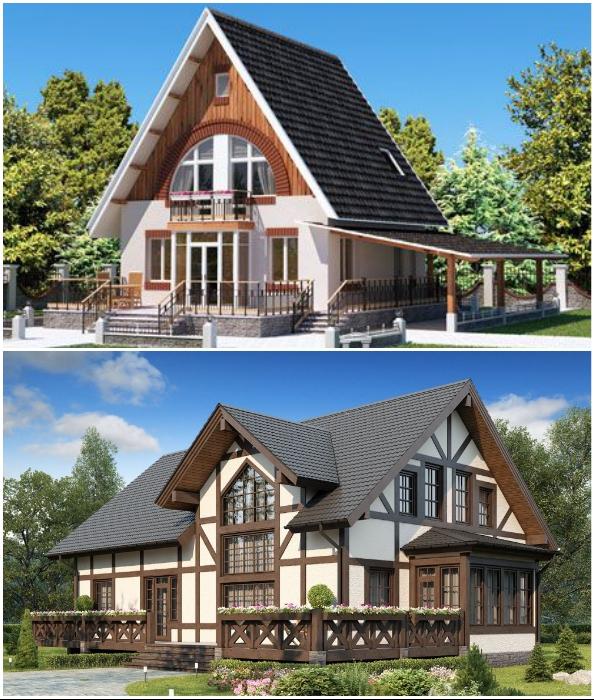 Примеры, подтверждающие то, что дома с мансардой выглядят довольно эффектно (на данный момент).