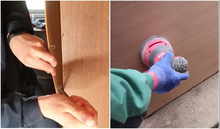 Перед реставрацией шкаф следует разобрать на детали и снять со всех поверхностей лакокрасочное покрытие.