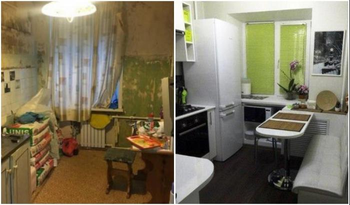 Даже и не верится, что из такой кухни смогли создать современное пространство.