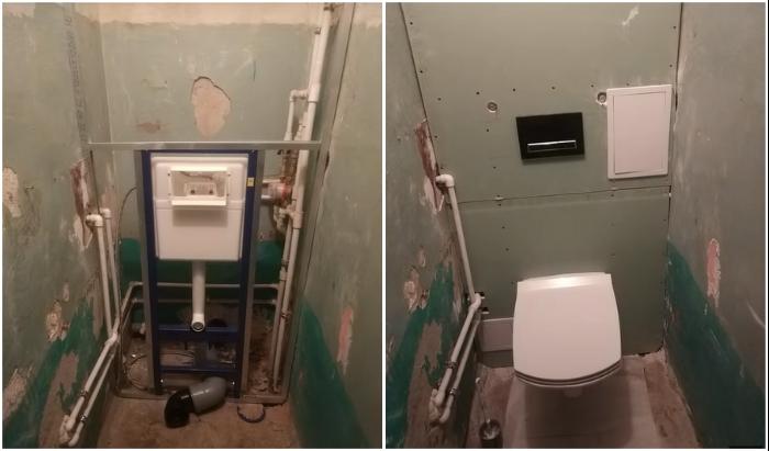 Вот так выглядит туалет после замены громоздких труб и установки инсталляции.