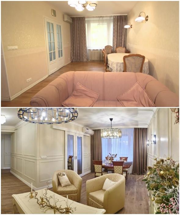 Преображение многофункциональной гостиной в квартире Леонида Якубовича (до и после).