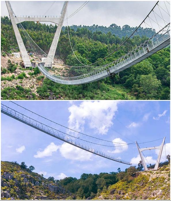 Мост длиною в 516 м удерживается на тросах, закрепленных на гигантских бетонных опорах (516 Arouca Bridge, Португалия).
