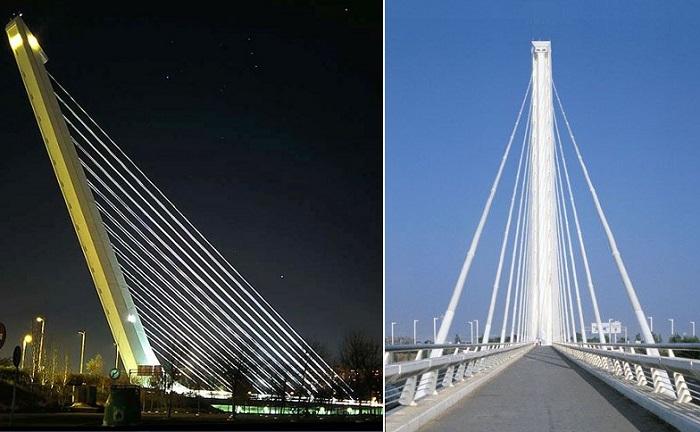 Alamillo Bridge – новый вид консольно-лонжеронных вантовых мостов, придуманный Santiago Calatrava (Севилья, Испания).