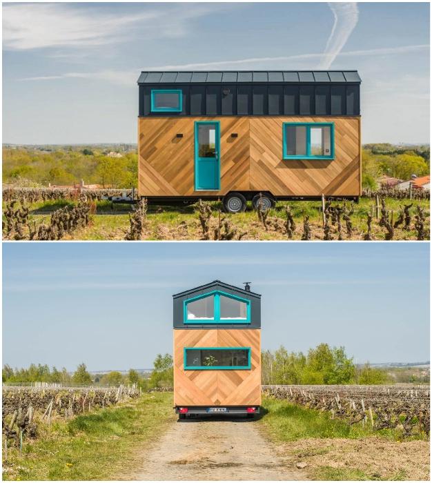 Крошечный дом на колесах рассчитан на проживание на природе вдали от центральных коммуникаций (Tiny House Siana).