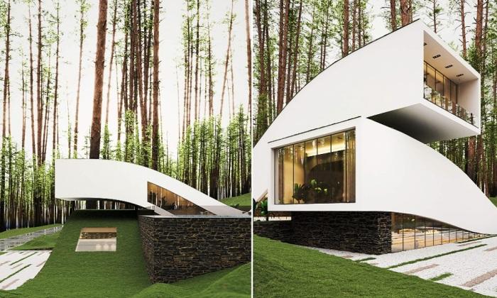 Гармоничная интеграция футуристического загородного дома в живописный природный ландшафт (концепт «Ландшафтный дом»).