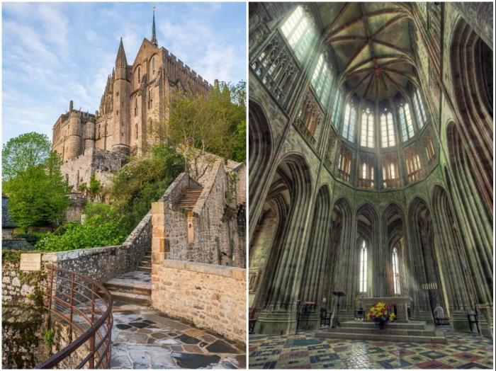 300 ступеней ведут к главной святыне острова-крепости (аббатство Мон-Сен-Мишель, Франция).