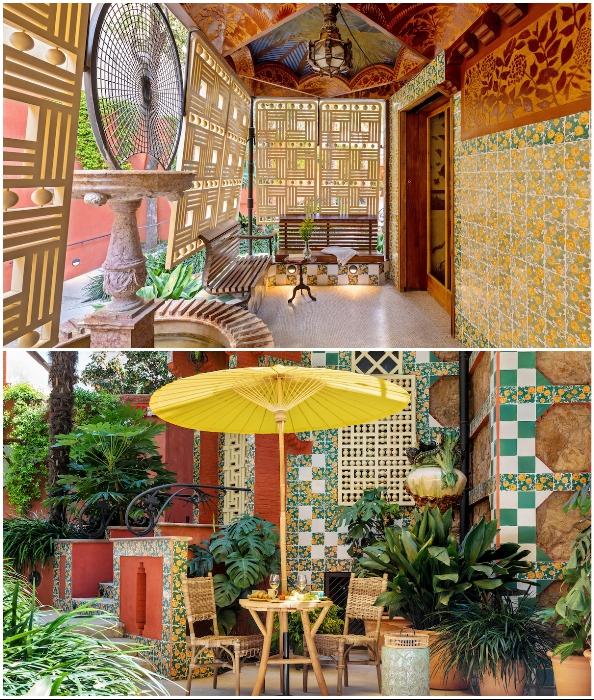 Отдых на летней террасе и завтрак в благоухающем саду также входят в стоимость проживания (Casa Vicens, Барселона).