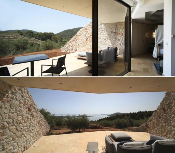 Из номеров открывается восхитительный вид на оливковую рощу и побережье (Villa Nai 3.3, Хорватия).