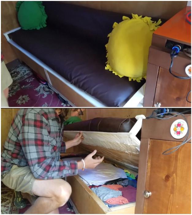 В диване и под ним можно хранить вещи необходимые для путешествия.