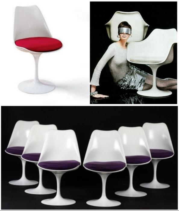 Плавные формы кресла Tulip Chair вдохновлены природными линиями (дизайн Ээро Сааринена в двух вариантах).