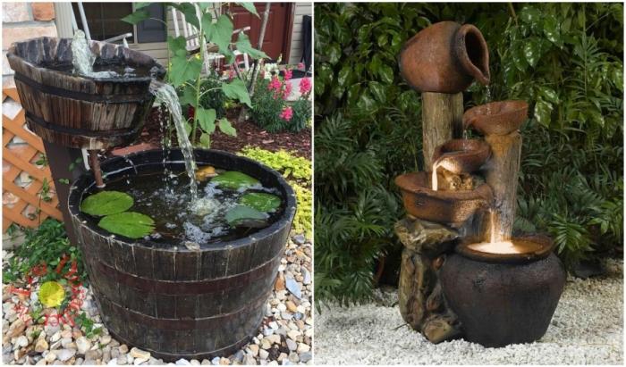 Колоритные предметы и кухонная утварь прекрасно смотрятся в таких садовых композициях.