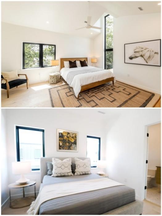 Интерьер двух спальных комнат в гибридном доме жилого комплекса The East 17th St 3D-printed Home в Восточном Остине (Техас, США).