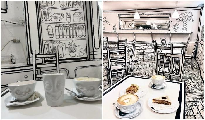 Причудливые мордашки на белых чашках стали оригинальным дополнением к нарисованному интерьеру (Чбкафе, Санкт-Петербург).