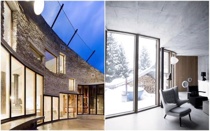 Масштабные окна обеспечивают все комнаты солнечным светом (Villa Vals, Швейцария).