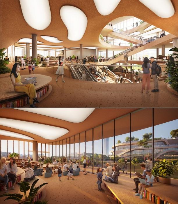 Библиотека станет связующим звеном и местом неформального общения (Shenzhen Terraces, Китай).