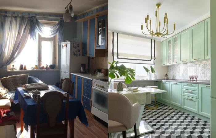 С помощью краски и декоративных элементов можно изменить интерьер кухни до неузнаваемости. | Фото: inmyroom.ru.