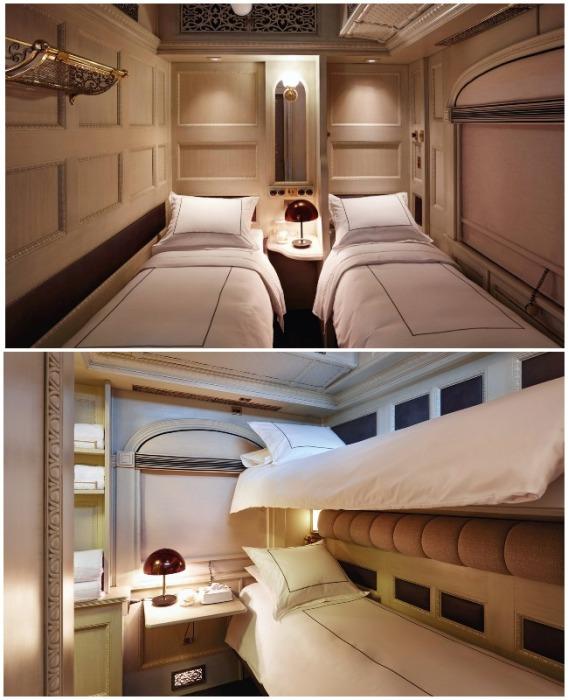 Двухместные купе имеют различную планировку и размещение спальных мест (Belmond Andean Explorer, Перу).