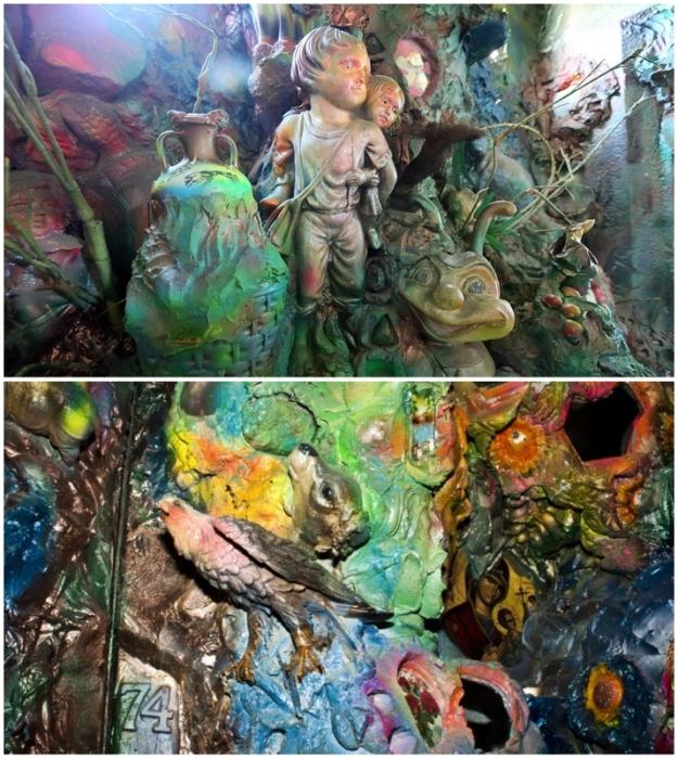 По коридорам и на лестничных площадках можно было гулять часами, рассматривая детали арт-объекта, созданного неординарной киевской художницей (Киев, Троещина).