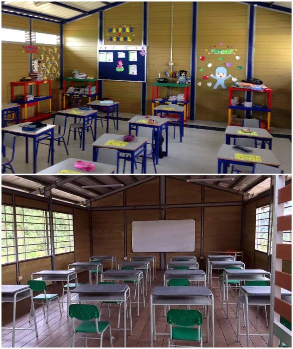 Учебные классы в дальних селах собирают буквально за неделю (Колумбия).