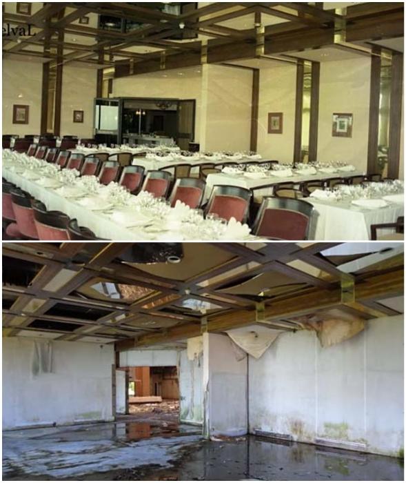 Обеденный зал одного из ресторанов отеля тоже превратился в жалкое зрелище (Monte Palace, Португалия).