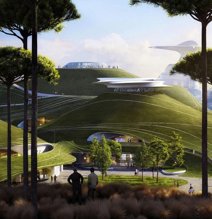 700 тыс. кв. м городской территории будет утопать в зелени. | Фото: worldarchitecture.org/ © MAD Architects.