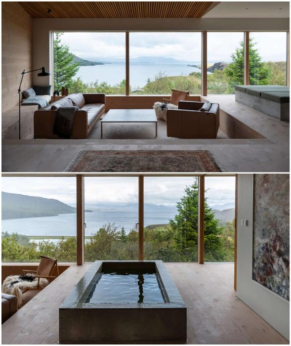 В гостиной помимо традиционной мебели имеется еще и ванна из бетона (Thingvallavatn House, Исландия).