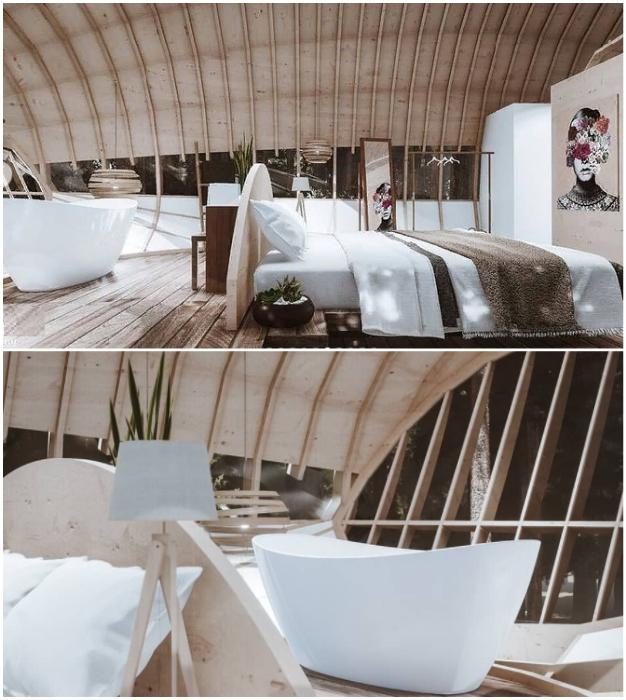 О такой ванне можно только мечтать (концепт Cabins On The Mountain).
