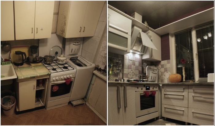 Чудесное превращение старомодной захламленной кухни в стильную штучку.
