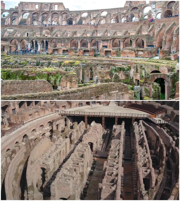 В XIX ст. был снят деревянный настил арены и с тех пор подземные лабиринты открыты и для обзора, и для природных стихий.