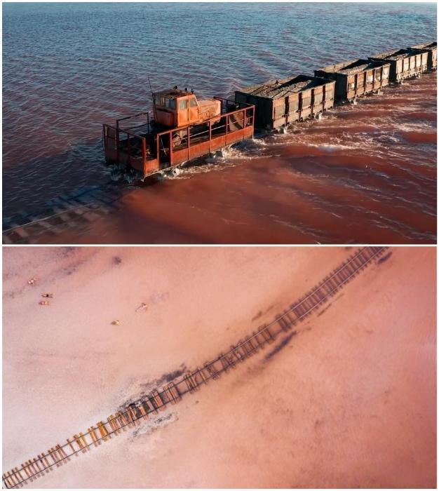 Железнодорожное полотно проходит прямо по дну озера Бурсоль (Алтайский край, Россия). Фото: © Vadim Makhorov.