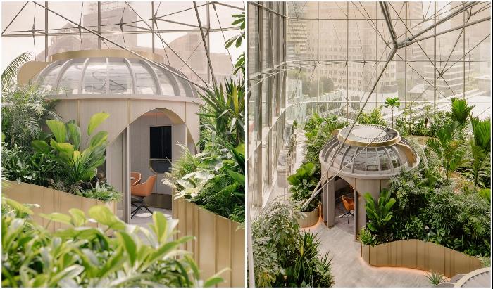Садовые беседки заменяют переговорные комнаты и конференц-залы (Citibank Singapore). | Фото: allcadblocks.com.