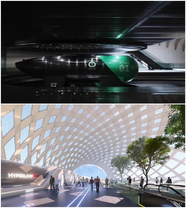 Внутреннее обустройство линий движения и площадей станции (концепт HyperloopTT).
