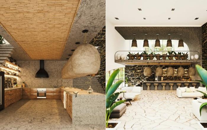Причудливый дизайн кухни-столовой позволит наслаждаться не только кулинарными изысками (концепт «Ландшафтный дом»).
