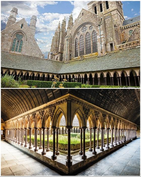 Впечатляющая архитектура католический святыни аббатства Мон-Сен-Мишель (Франция).