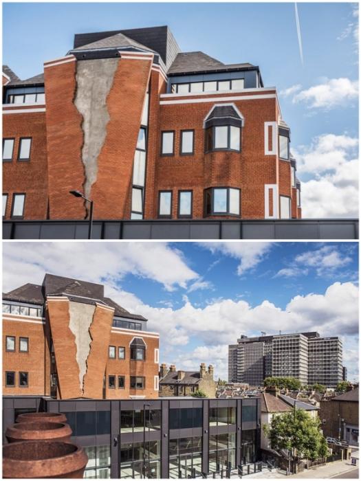 Сногсшибательный «разрушенный» фасад на офисном комплексе в Хаммерсмите (Лондон, Великобритания).